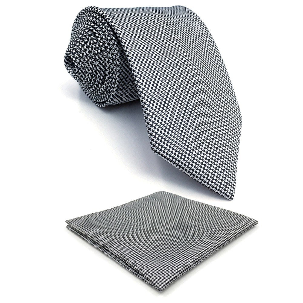 "Y20 Houndstooth White Black Silk Fashion Brand New Mens Ties Necktie Classic Jacquard Woven Hanky Extra Long Size 63""-novahe"