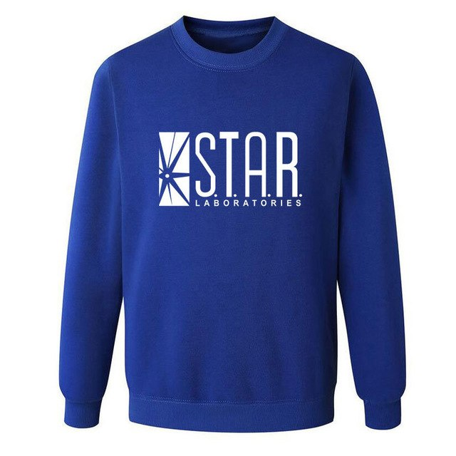 The Flash Star Lab letters printing students sweatshirt men autumn round neck hoodies casual pullovers brand clothing-novahe