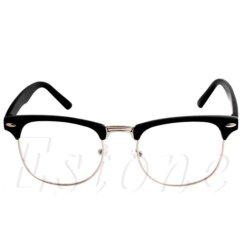 1PC Fashion Metal Half Frame Glasses Frame Retro Woman Men Reading Glass Clear Lens Computer Eyeglass Frame-novahe