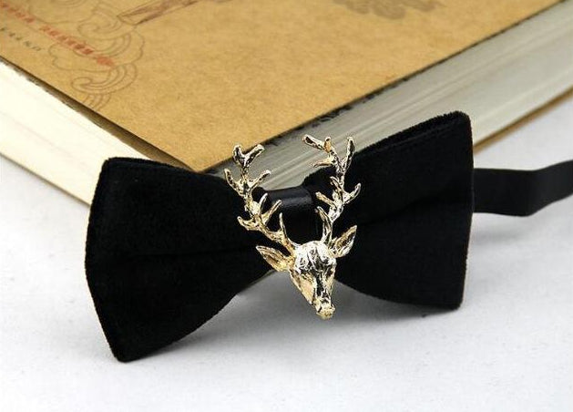 Stylish Golden Deer Bow Tie Fashion Lovely Personality Butterfly Men Bowties For Wedding-novahe