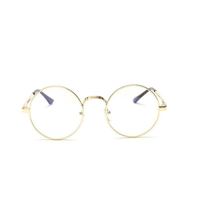 Round Gold Clear Glasses Myopia Clear Frame Glasses Women Men Spectacle Eyewear Frame Clear Lens Optical Gold Glasses Lunette-novahe