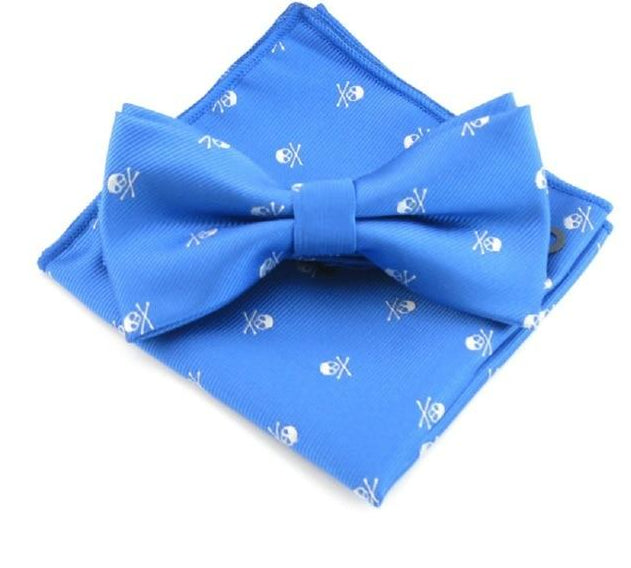 Mantieqingway Polyester Bowtie Handkerchief Sets For Men's Skull Printed Bow Ties for Wedding Party Pocket Square Hankies Ties-novahe
