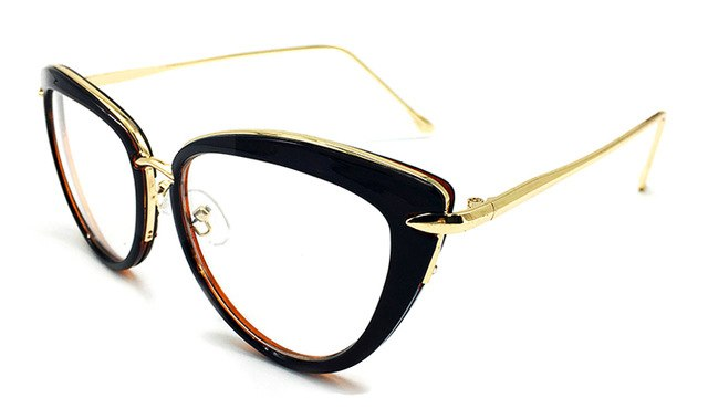 2017 Fashion New Women Eyeglasses Frames Classic Brand Designer Luxury Metal Frame Women Cat Eye Glasses Trendy Lunettes Vintage-novahe