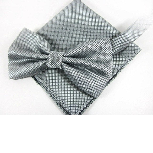 Bow Tie Set Fashion Ties for Men Pocket square Solid color party Butterfly Business Bowtie Handkerchief-novahe