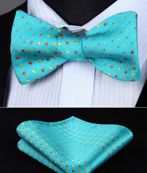Dot 100%Silk Jacquard Woven Men Butterfly Self Bow Tie BowTie Pocket Square Handkerchief Hanky Suit Set EDA-novahe