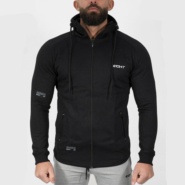 Mens cotton Hoodies Fashion Casual Zipper sweatshirt male gyms fitness Bodybuilding workout sportswear Hooded Jacket clothing-novahe