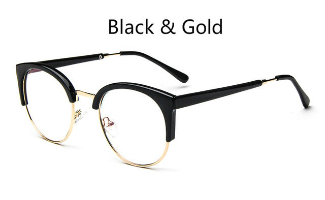 cheap Brand Fashion Metal Glasses Frame Retro Woman Men Reading Glass Frame UV Protection Clear Lens Computer Eyewear Eyeglass-novahe