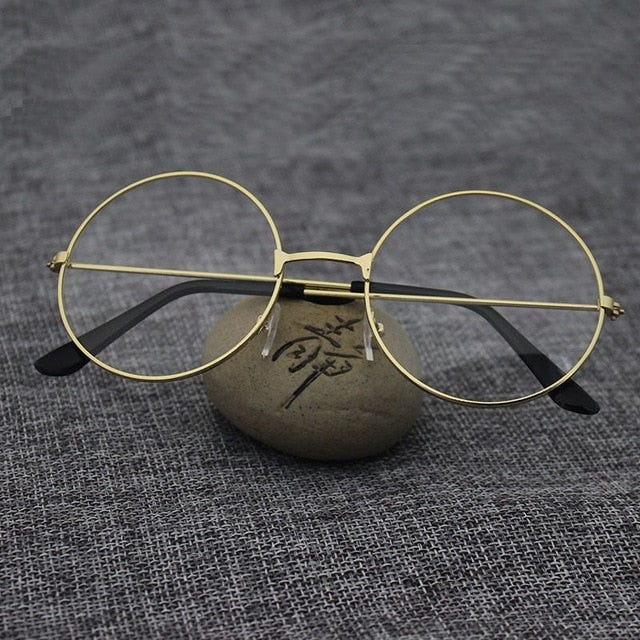 Mayitr 1pc Unisex Retro Large Round Glasses Oversized Metal Frame Eyeglasses Glasses Clear Lens 6 Colors New High Quality-novahe