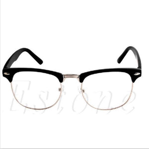 1PC Fashion Metal Half Frame Glasses Frame Retro Woman Men Reading Glass UV Protection Clear Lens Computer Eyeglass Frame-novahe