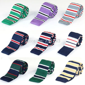 Striped Skinny Knitted ties for men 100% Polyester Woven mens Slim necktie for Party Business Brand Handmade Cheap Neck Tie-novahe