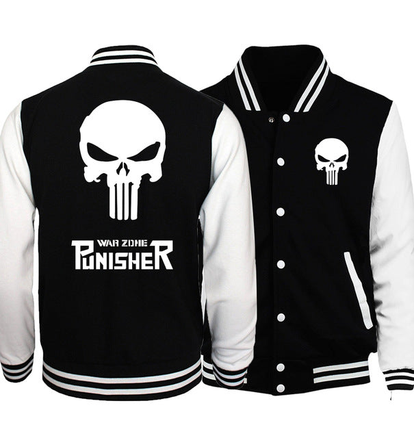 the punisher anime skull print mens baseball jacket 2017 spring casual streetwear funny hoodies tracking hip hop sweatshirt-novahe
