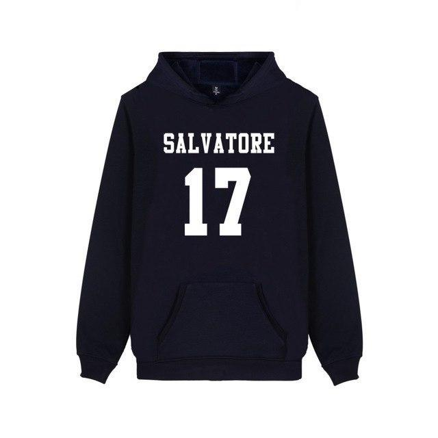 Salvatore 17 Vampire Diaries Mystic Falls Timberwolves Hoodies Print Salvatore 17 Mens Clothing Casual Cotton Hooded Sweatshirts-novahe