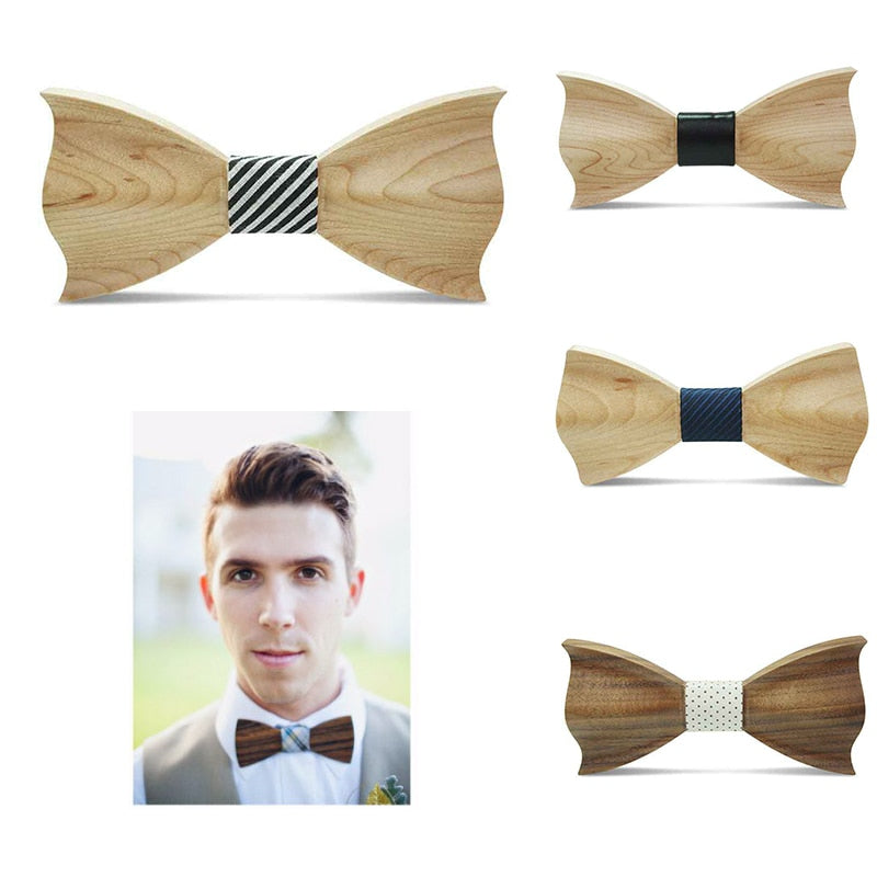 Wood Bow Tie Mens Wooden Bow Ties Gravatas Corbatas Business Butterfly Cravat Party Ties For Men Wood Ties Wedding Dropship Hot-novahe