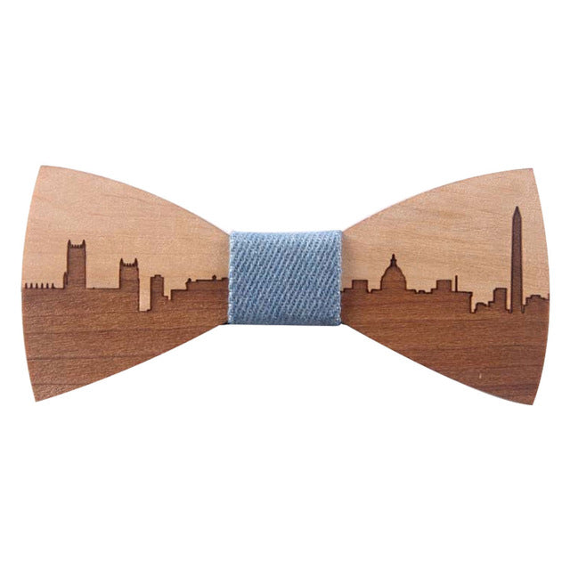 Charming Wedding Bow Tie Wooden Butterfly City Skyline For Men's Suit Shirt Necktie Jewerly Accessory-novahe