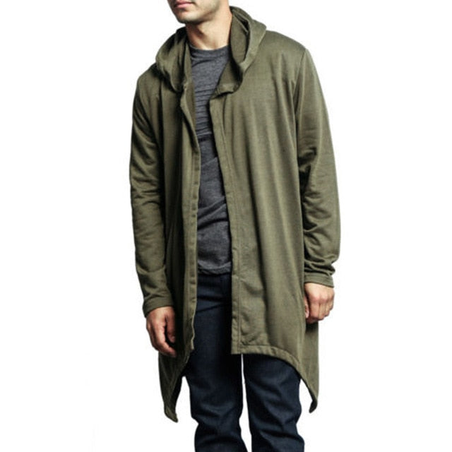 Men Oversized Sweatshirt Solid Gown Hip Hop Mantle Hoodies Fashion Jacket Long Open Front Cloak Man's Coats Jacket Outwear 3XL-novahe