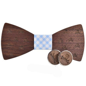 2018New design Wood Bow Tie Mens set Cravat Party Ties Corbatas Business Butterfly Skull cuff links set-novahe