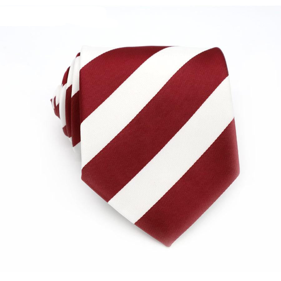 XT066 Men Ties 8CM Dark Red White Striped 100% Silk Necktie Mens Business Wedding Male Legame England Jacquard Woven Neck Tie-novahe
