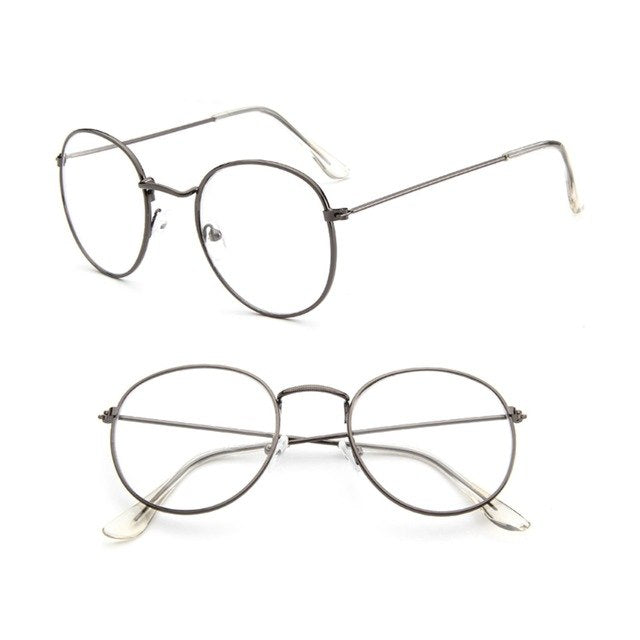 f30a14e6a22 Vintage Men Women Eyeglass Metal Frame Glasses Round Spectacles Clear Lens  Optical