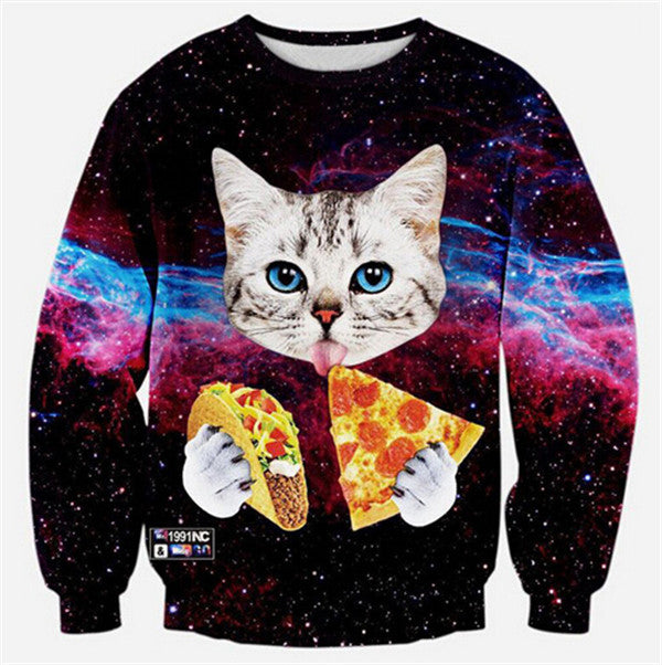2018 Cute Cat Women/Men Harajuku Sweatshirt 3d Animal Print Galaxy Space Cat Sweatshirt Hoodies Funny Pizza Winter Clothes-novahe