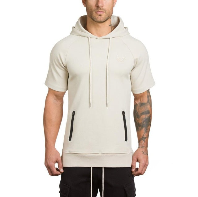 2018 Men's hoodies AS Gyms Hoodies short-sleeve hoodies men sweatshirt belt patchwork Muscle Brothers man hoodies sportwear-novahe