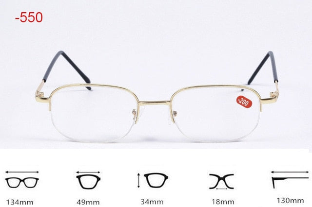 Half Metal Frame Nearsighted Glasses Resin Nearsight Woman Men Shortsighted Myopia Eyewear.-1 1.5 2 2.5 3 3.5,4 -4.5~-20-novahe