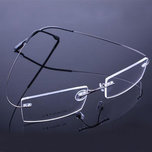 New Retail 9 Colors Lightweight Rimless Glasses Frames Memory Titanium Eyeglasses Spectacle Prescription Optical Frames-novahe