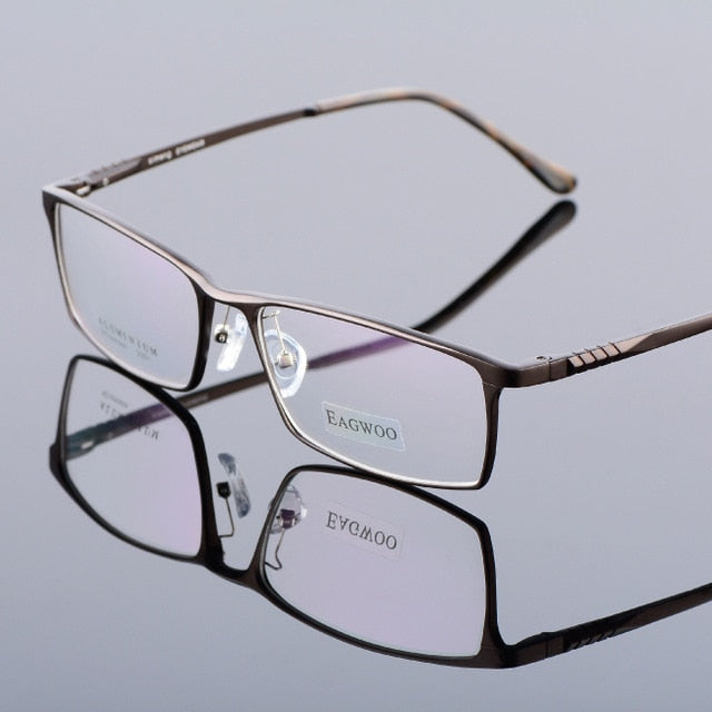 Eagwoo Aluminum Men Wide Face Prescription Eyeglasses Full Rim Optical Frame Business Eye Glasses Light Big Spectacle MF2351-novahe