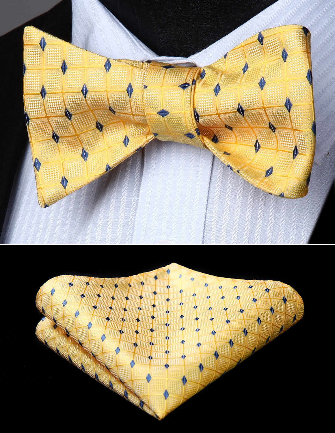 Bow Tie handkerchief set BC716YS Yellow Check&Plaid Bowtie Men Butterfly Silk Self-novahe