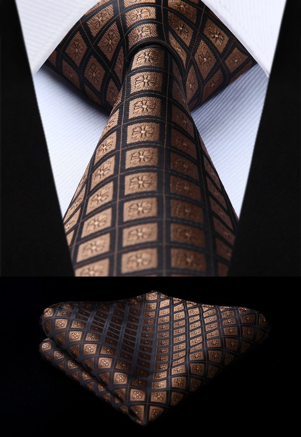 "Woven Classic Men Tie Necktie TC715Z8S Plaid Brown Check 3.4"" Silk Tie Party Wedding Handkerchief Set-novahe"