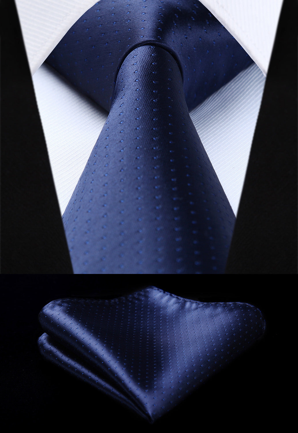 "TD604V8S Navy Blue Polka Dot 3.4"" Silk Tie Party Wedding Handkerchief Set Woven Classic Men Tie Necktie-novahe"