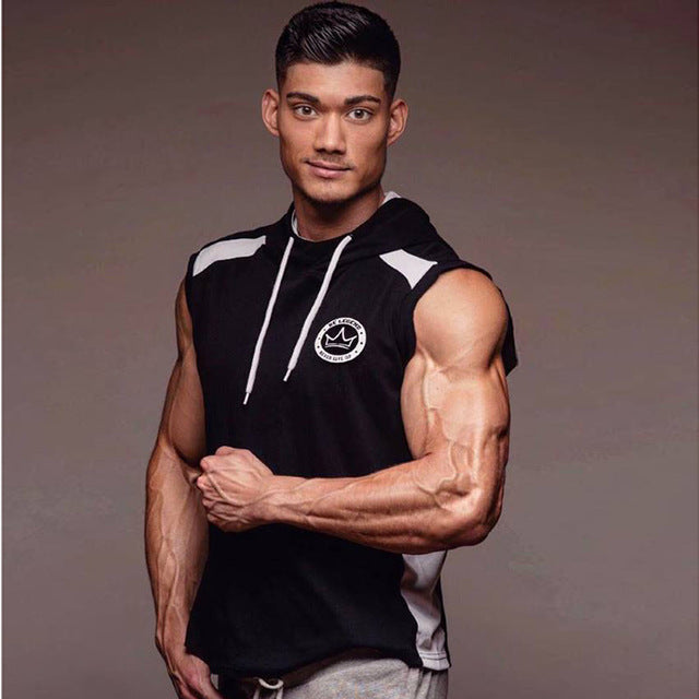 SJ 2017 Fitness Men Bodybuilding Sleeveless Muscle Hoodies Workout Clothes Casual Cotton Tops Hooded Tank Tops 2 Color-novahe