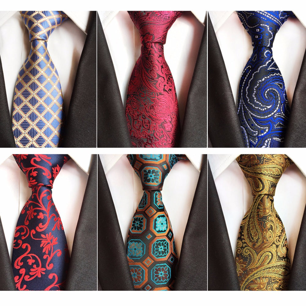 8a12a3e48c RBOCOTT Blue Plaid Tie 8cm Necktie Men's Paisley Tie Red Fashion Floral Ties  For Men Business