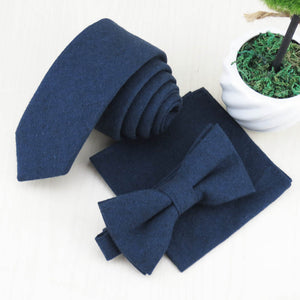 New style han edition men's small upscale gentleman navy cotton tie bow tie face cloth/Pure color and simple fashion-novahe