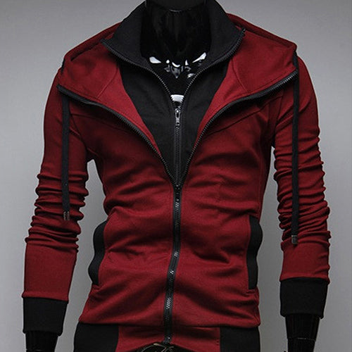 Men Slim Fit Double Zipper Two Tone Hooded Sweatshirt Coat Casual Jacket Outwear-novahe