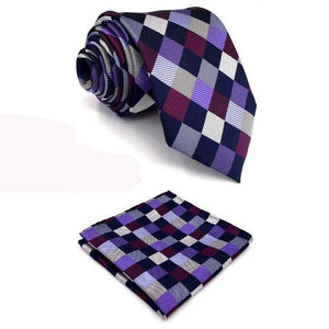 "B2 Checkes Purple Multicolor Mens Necktie Set Silk Fashion Classic Hanky extra long size Ties for male 63""-novahe"