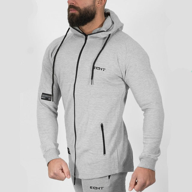 Autumn Winter Men Solid hoodie Fitness Bodybuilding Sweatshirts fashion Casual Hooded Zipper Slim Jacket male Cotton Sportswear-novahe