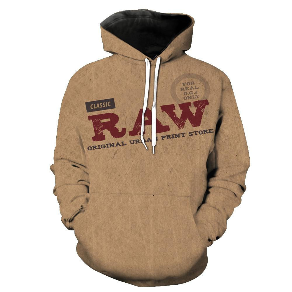 2018 FASHION MEN WOMEN Super Raw Rolling Papers HOODIE 3D Hoodie Sweatshirts Pullovers Autumn Tracksuit Winter Loose Thin Hoody-novahe