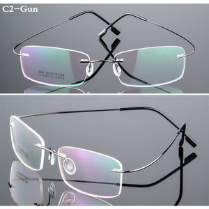 Spectacle Frame Rimless Ultra-light Eyeglasses Women Men Computer Optical Glasses For Male Female Transparent Clear Lens RS100-novahe
