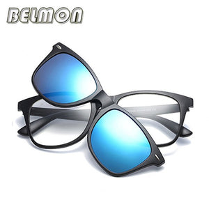 BELMON Eyeglasses Frame Men Women Fashion Clip On Magnets Polarized Sungllasses Optical Glasses Spectacle Frame For Male RS258-novahe