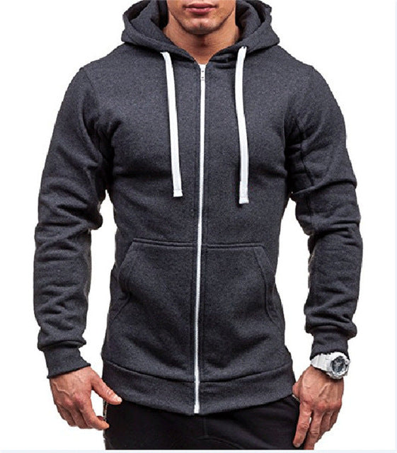 LeeLion 2018 Spring Hoodies Men Solid Zipper Cardigan Sweatshirts Slim Fit Sportswear Fashion Casual Tracksuit Dropshipping-novahe