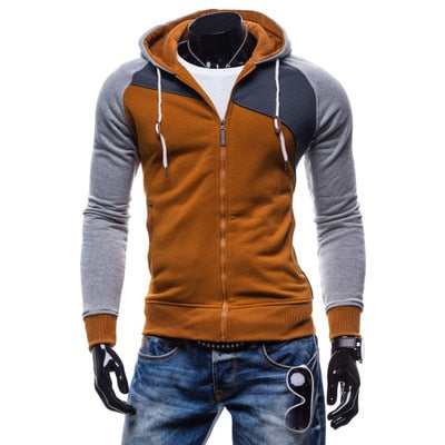 LaMaxPa 2018 Fashion Brand Sweatshirts Men zipper Hoodies Patchwork Slim Men's Sportswear Men Coat XXL-novahe