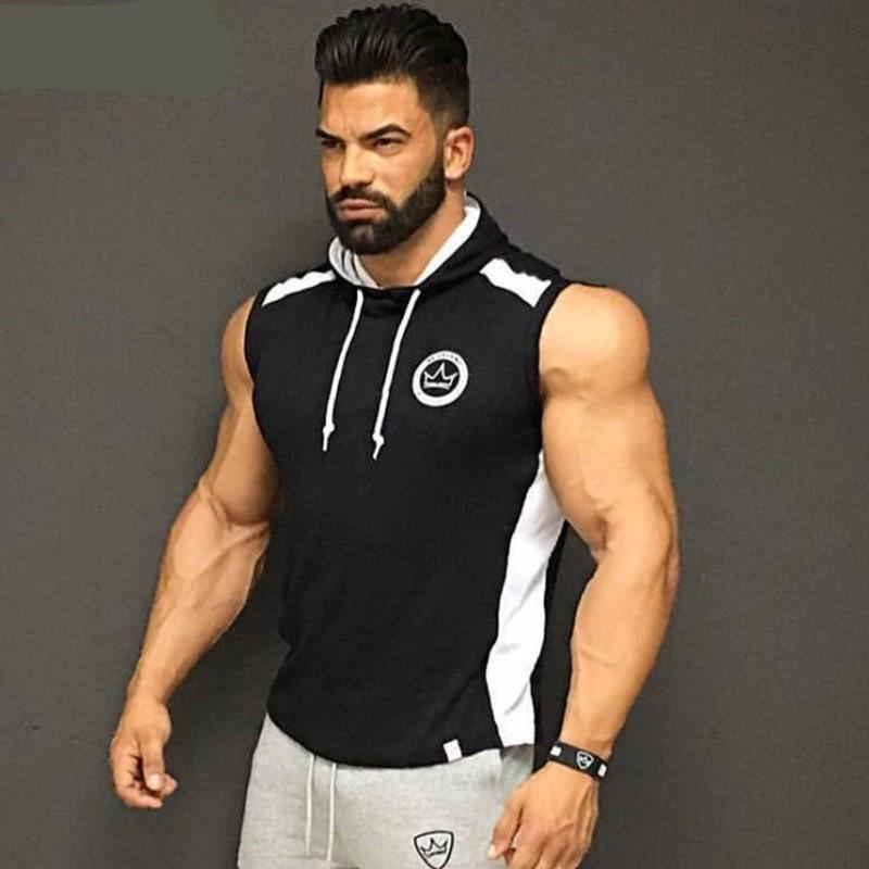 Men Spring summer Bodybuilding sleeveless Hoodie Gyms Fitness cotton Sweatshirt 2018 New male Casual slim Sportswear Hooded vest-novahe