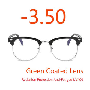 -1.0 -1.5 -2.0 to -4.0 Radiation Protection Rivet Eyewear Women Half Frame Glasses 1.56 Refractive index Retro Optical Glasses-novahe