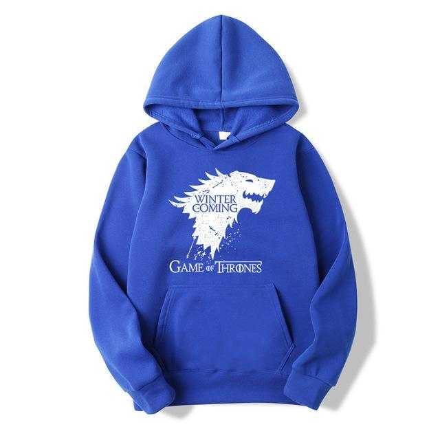 WZZAE 2018 New Game of Thrones Direwolf Men Hoodies And Sweatshirts Winter is Coming Cotton Hooded Top Quality Plus Size M-XXXL-novahe