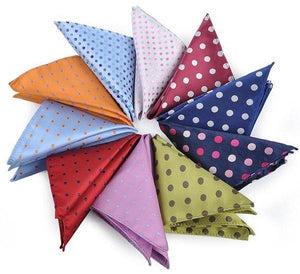 ciciTree New 10PCS/SET Colorful Big Polka Dots Men's Polyester Handkerchief Wedding Hanky Banquet Pocket Square Father Day Gift-novahe