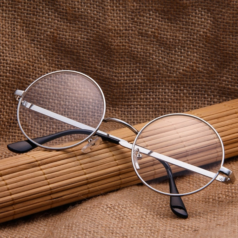 Vintage Men Women Retro Round Eyeglasses Frame Glasses Eyewear Clear Lens Hot! Gray/Bronze/Silver/Gold-novahe