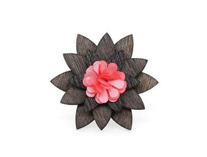 cfe192b59bba2 Antique Pink Color Flower Wooden wood Small Cute Brooch Lapel Pins for  Groom men women-