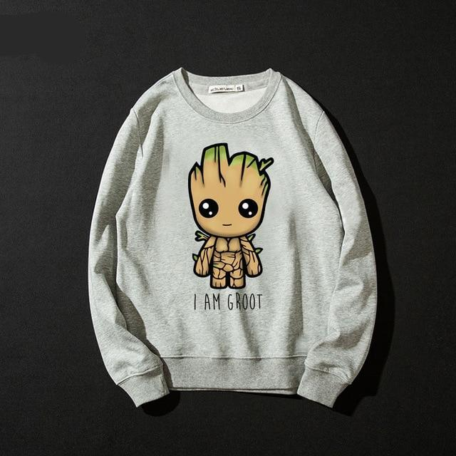 Cncool 2018 Trendy Guardians of the Galaxy Groot Hooded Men Women Hoodies Sweatshirts Print Long Sleeve Hip Hop Cotton-novahe