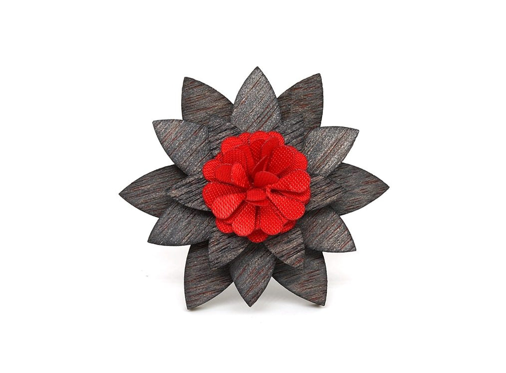 Wooden Vintage Wood Men Women Wooden Lapel Pin Flower Brooch Party Wedding Unisex Women Men Enamel Pin-novahe