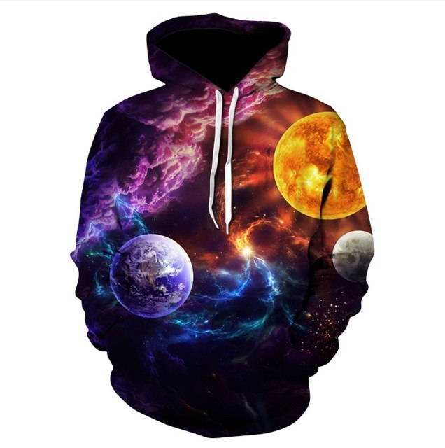 Hoodies Space Galaxy Sweatshirt 3D Hoodie New Coat Casual Streetwear Fashion Hat Sweatshirt Men Women Brand Clothing 2018-novahe